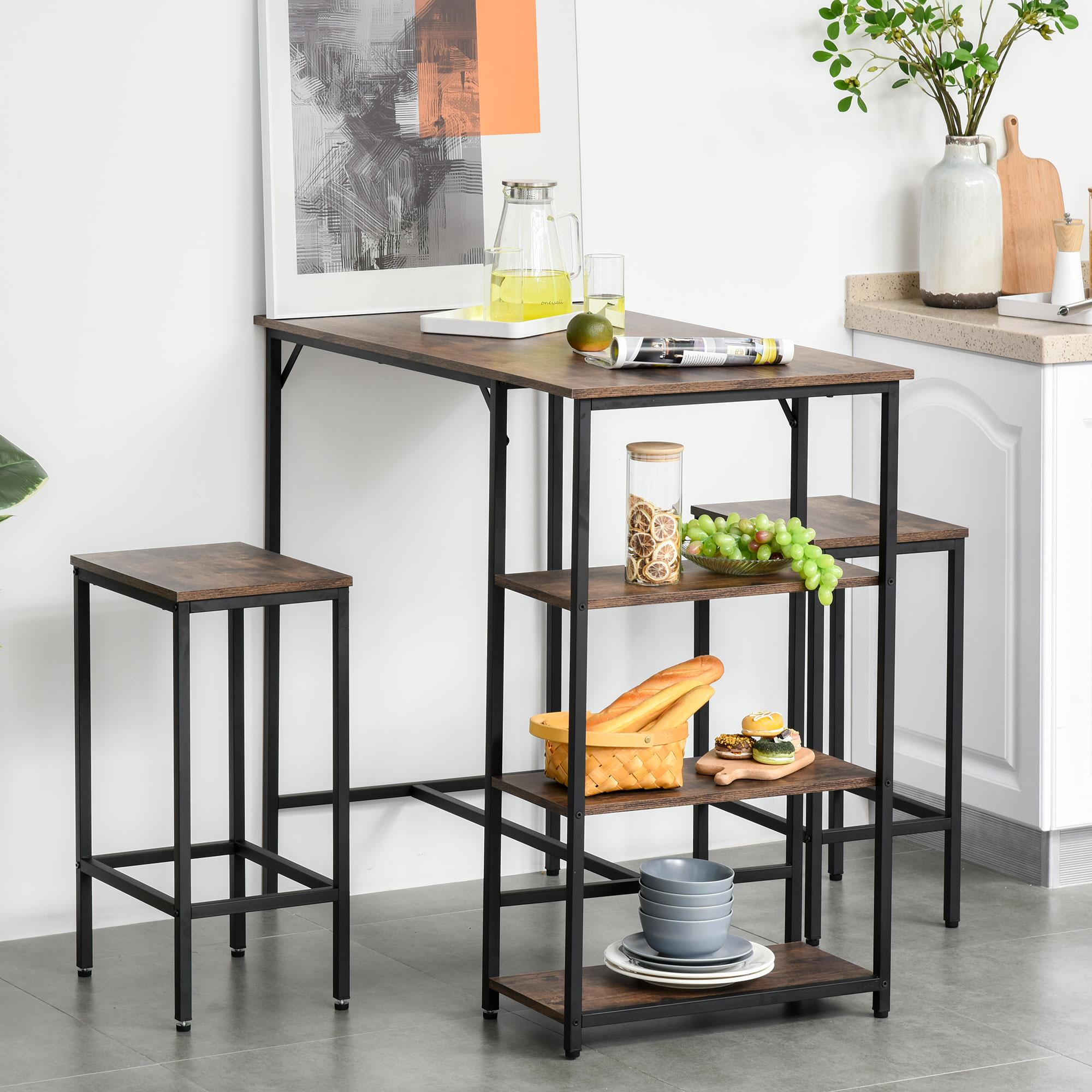 Set mesa alta con estantes y 2 taburetes con reposapiés